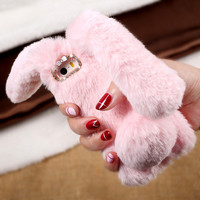 for iPhone 6s TPU Bag Cover Cute Cases Rabbit Bunny Warm Furry Rabbit Fur TPU Phone Case for iPhone 6 6s Plus iPhone 7 7 Plus SE