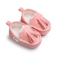 0-18M | Boys & Girls Suede PU  Leather Moccasins | Bebe Fringe