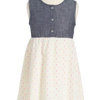 Embroidered Dot Sleeveless Dress (Toddler Girls, Little Girls & Big Girls)