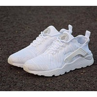 Nike Air Huarache 3 Run Rainbow Ultra Breathe Women Men All White Running Sport Casual Shoes Sneakers - 859511-100