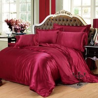 Fashion Silk/cotton Bedding Set 19 Solid Color Bed Linen Duvet Cover Set Include Quilt Bed Sheet Pillowcase for Adult Queen King