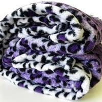 Microfiber Leopard Print Purple, Black and White Queen Blanket