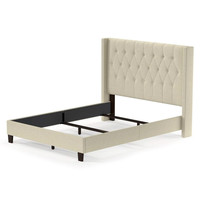 Queen size Oatmeal Beige Upholstered Bed with Button Tufted Wingback Headboard