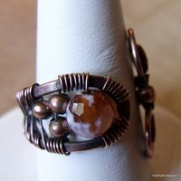 Copper Ring with Honeyed Agate Stone