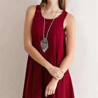 Perfectly Perforated Dress - Burgundy