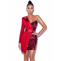 High Quality Red One Sleeved Sequin Tuxedo Blazer Dress