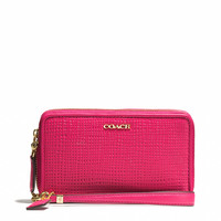 MADISON DOUBLE ZIP PHONE WALLET IN EMBOSSED LEATHER