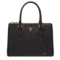 Prada Women's Black Leather Solid Handbag Shoulder Bag