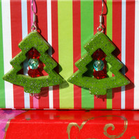 Green Glitter Christmas Tree Earrings with Red and Green Accent Beads