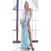 Floor Length Iridescent Sequin Form Fit Dress Opal Blue Lace Up Back Leg Slit