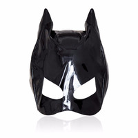 Women Bdsm Products Leather Open Mouth Head Bondage Mask Cosplay Hood Fetish Sex Toys