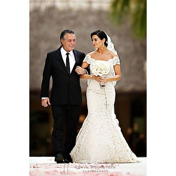 Courtney Mazza Mermaid Lace Wedding Dress Celebrity Off-the-shoulder Bridal Gown For Sale