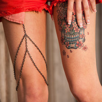 Leg chain. Body jewelry. Leg body chain.