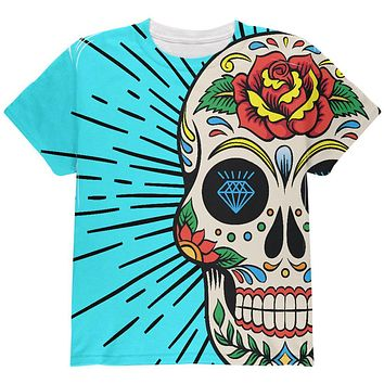Sugar Skull All Over Youth T Shirt