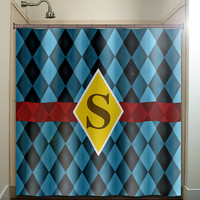 personalized blue diamond chevron shower curtain bathroom decor fabric kids bath white black custom duvet cover rug mat window