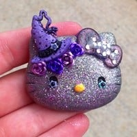 Amethyst Sparkle Magic Hello Casting Kitty Embellished Resin Cabochon