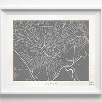 Luton Print, England Print, Luton Poster, England Poster, Luton Map, Anniversary Gift, Home Decor, Dorm Decor, Halloween Decor