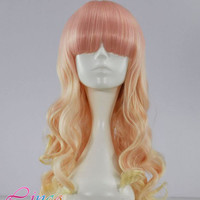 55cm-Long-Multi-Color-Beautiful-lolita-wig-Anime-Wig pink and blonde mix wigs NLW187