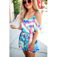 The Technicolor Travels Romper (Blue/Mint)