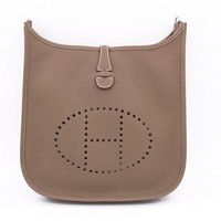 Authentic New Hermes Evelyne III 29 PM Etoupe Taurillon Clemence Messenger Bag