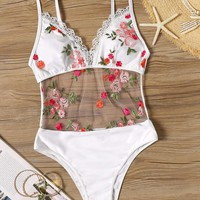 Floral Embroidered Monokini