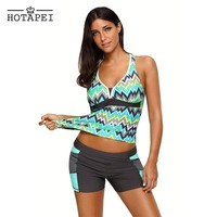 Hotapei 2018 new Plus Size Swimwear Green Tone Multicolor Two Pieces Tankini set LC410456 Swimming Suits For Women Bathing Suits