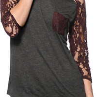 Empyre Dana Charcoal & Blackberry Lace Top