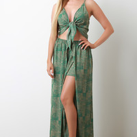 Woven Print Front-Tie Crop Top With Open Front Palazzo Pants Matching Set