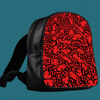 Keith Haring Art Red for Backpack / Custom Bag / School Bag / Children Bag / Custom School Bag ***
