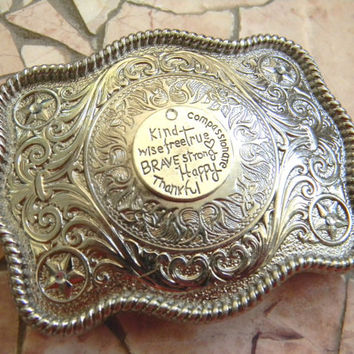 Be Kind Wise Brave Strong Happy And Free True Thankful, Womens Silver Western Belt Buckle, Encouragement Gift, Womens Buckle, Gift For Women