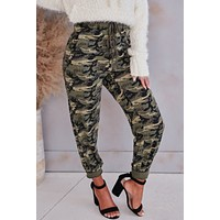 A Day In The Life Camo Knit Joggers (Olive)