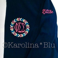 Monogrammed arrow circle frame long sleeve tshirt in the colors of your choice. Initials or greek letters.