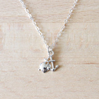 Anchor My Heart Charm Necklace, Anchor Heart Charm Necklace, Charm Necklace, Gift, Anchor Heart Necklace, Love Necklace, Nautical Jewelry