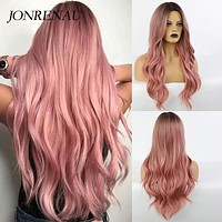 Synthetic Long Wavy Dark Root Ombre Pink Cosplay Wigs for Black White Women Colorful Fiber Hair Wigs High Temperature