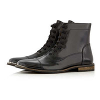 Black Leather Lace Up Boots - Boots - Shoes and Accessories