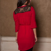 Ruffles And Lace Dress, Red