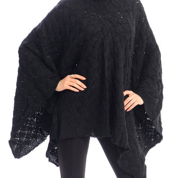 Black Knitted Women's Poncho