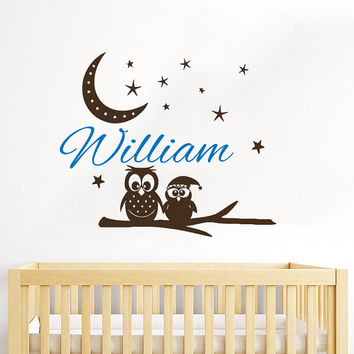Owl Wall Decal Name Vinyl Sticker Personalized Custom Name Moon and Stars Decals Children Kids Baby Name Girls Nursery Boys Room Decor AN665