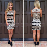 Layered in Gold Lace Bodycon Dress