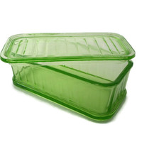 Vintage Green Depression Glass Refrigerator Dish with Cover Anchor Hocking 1940's