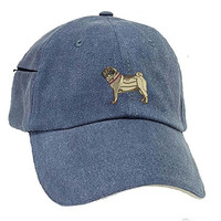 Pug Fawn Low Profile Baseball Cap with Zippered Pocket.