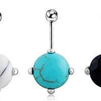 Sunshinesmile 3pcs Turquoise Navel Belly Button Bar Barbell Ball Ring Body Piercing