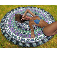 Art Floral Printed Indian Mandala Round Tapestry Wall Hanging Throw Towel Yoga Mat Blanket Boho Tablecloth Bedspread Home Decor