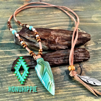 Native American arrowhead feather necklace, boho beach jewelry