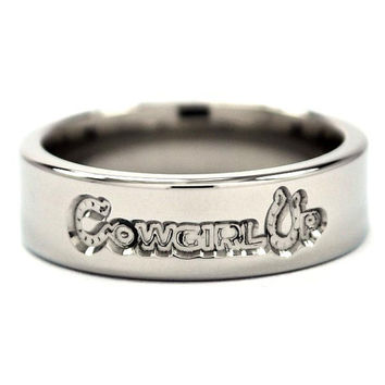 """New 6mm """"Cowgirl Up"""" Titanium Ring"""