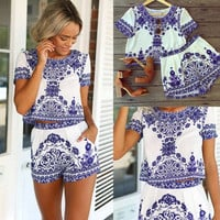 Porcelain Print Cropped Top and Elastic Waist Short
