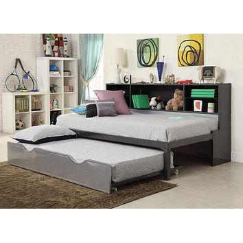"""Twin Size Bed - 79"""" X 50"""" X 39"""" Twin Black And Silver Metal Tube Bed With Bookcase And Trundle"""