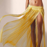 Yellow Side Slit Maxi Skirt