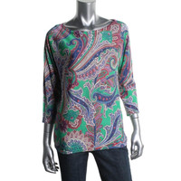 Lauren Ralph Lauren Womens Printed 3/4 Sleeves Pullover Top