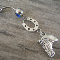 Good Luck Horse Belly Ring, Horseshoe Belly Button Ring, Country Western Belly Piercing, Lucky Horse, Barrel Racing, Cowgirl Up Body Jewelry